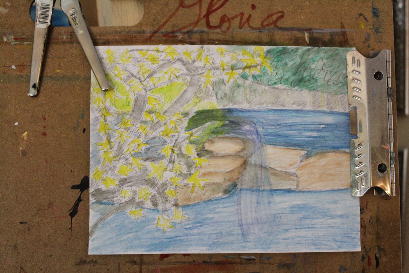 Preliminary drawing for natural waterfall sketch by Gloria Poole of Missouri; 27-April-2014; watercolor