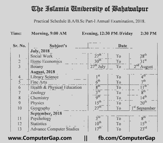 Date Sheet Practical Schedule B.Sc. Part I First Annual 2018 Islamia University