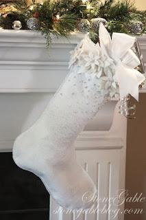 calza di natale in feltro bianca shabby chic