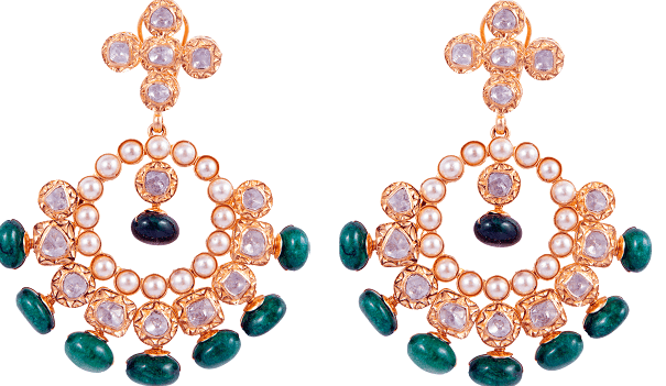 7.Polki Uncut Diamond and Gold Earrings By SLG Jewellers (1)-min