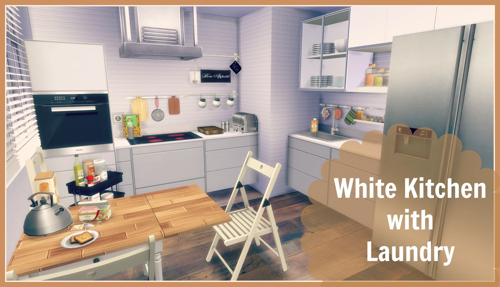 Sims 4 white kitchen with laundry dinha for Sims 3 kitchen designs