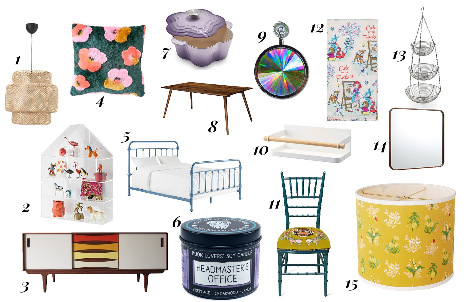 housewarming wishlist. mid-century modern style. the land of nod, target, urban outfitters, blue q, ikea, le creuset