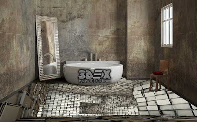 3d bathroom floor, 3d epoxy floor, 3d floor mural