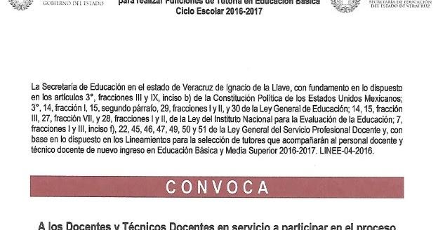 Supervisi n escolar papantla convocatoria para tutores for Convocatoria para docentes 2016