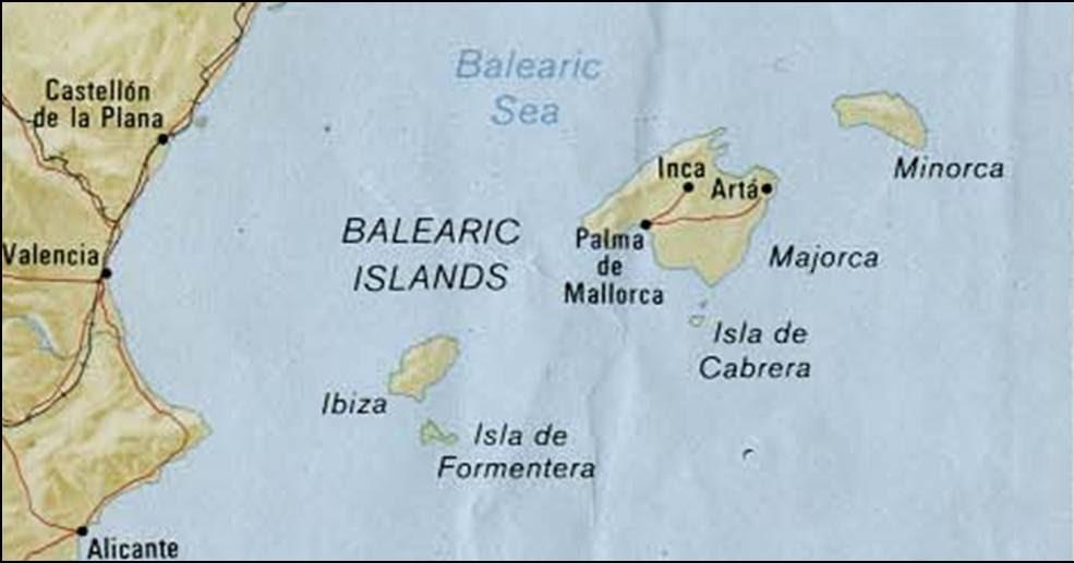 kaart mallorca ibiza balearen: kaart balearen met mallorca en ibiza