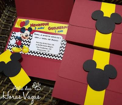 convite de aniversário infantil personalizado irmãos mickey mouse disney meninos