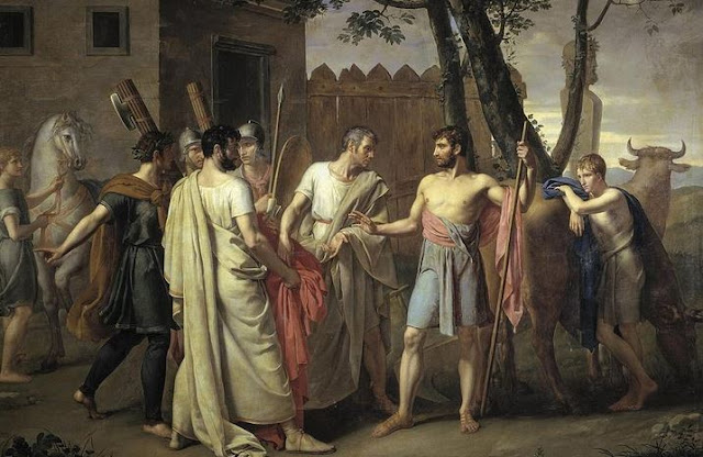 Cincinnatus receiving envoy from roman senate