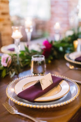 purple place setting for reception
