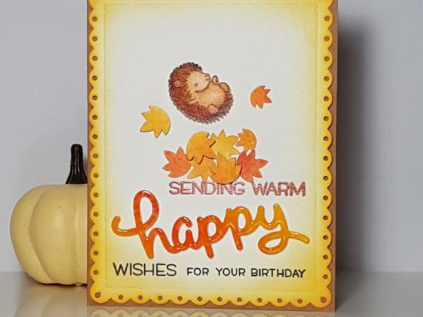 Hedgehog Fall Birthday Wishes - Lawn Fawn, Distress Oxide