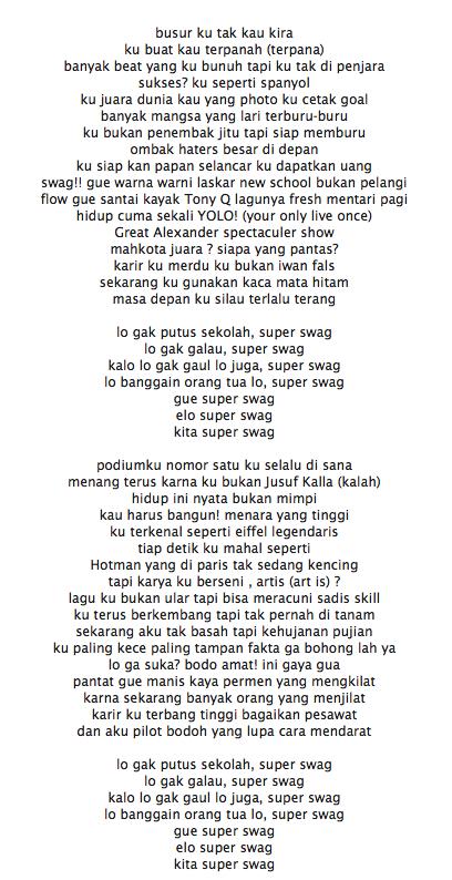 Lirik Lagu Young Lex Super Swag