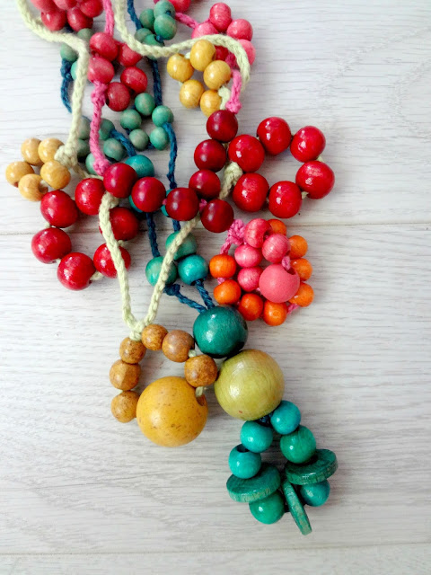 Tying and beading necklaces