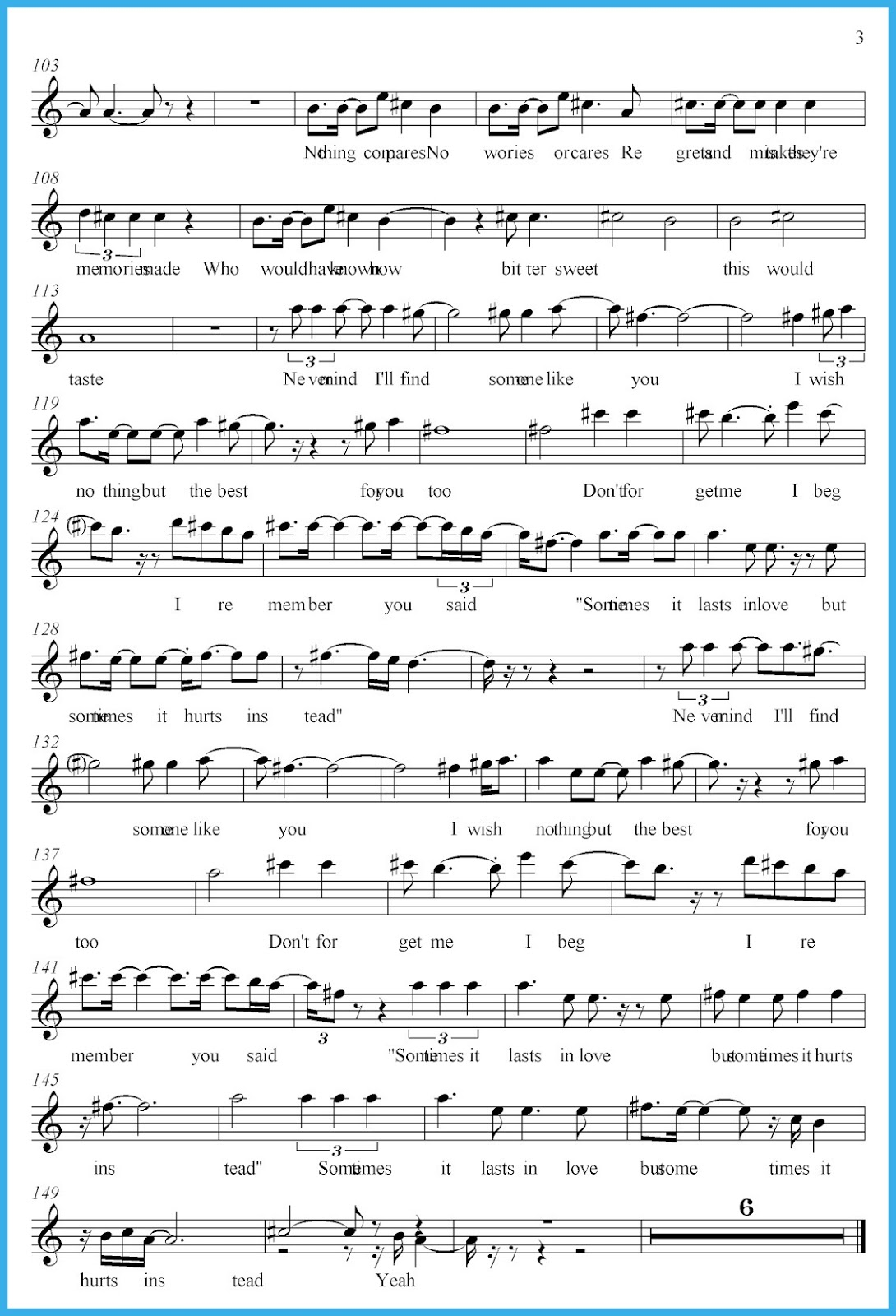Someone Like You Adele Score And Track Sheet Music Free Free
