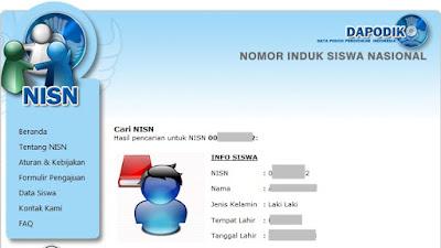 Hasil Pencarian NISN beradasarkan Nomor Induk Siswa Nasional