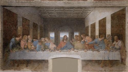 Cuadro de la Última Cena de Leonardo da Vinci, donde se puede apreciar a Jesús en el centro con sus discípulos.