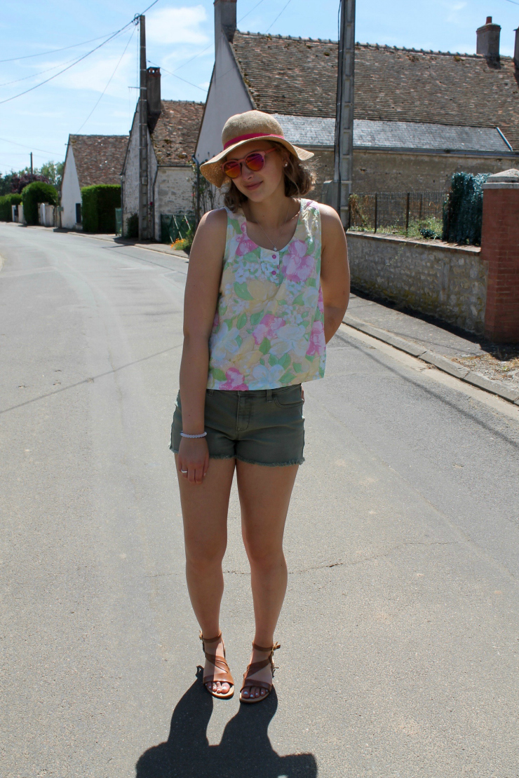 flowery summer shirt and olive green shorts