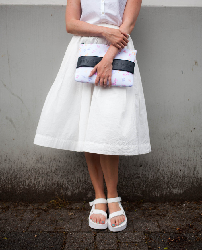 all white outfit with teva flatforms