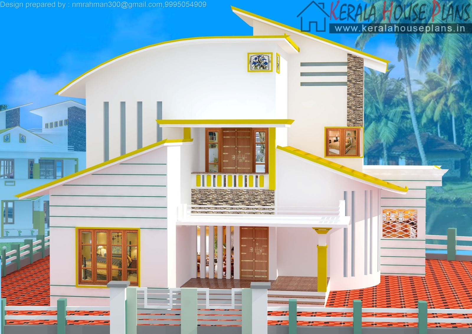1669 Kerala Modern Curved Roof House Design Kerala