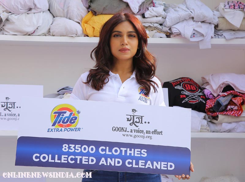 Actress Bhumi Pednekar during celebrations of grand success of the National Holi Clothes collection drive