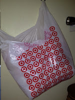 white plastic bag with the target store logo repeated