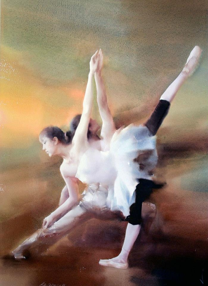 Liu Yi 1958 | Chinese Figurative Watercolour painter | The Ballet dancer