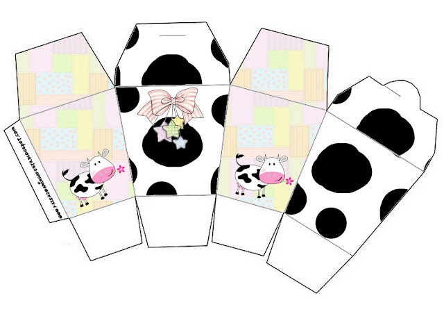 Cow and Patchwork Free Printable Chinese Take Away Box