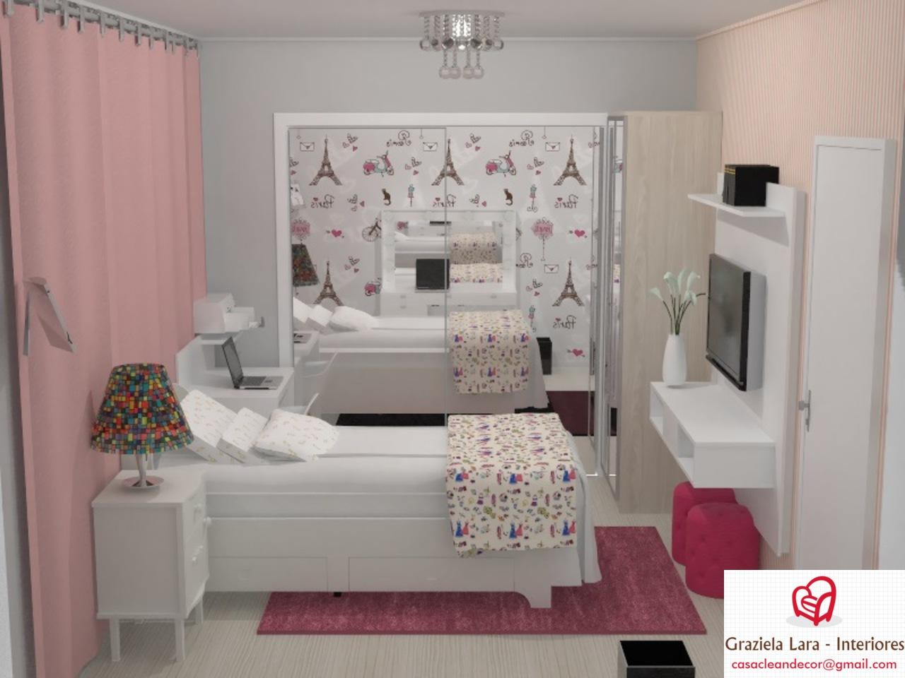 Construindo Minha Casa Clean Decora O Quarto De Menina Com Tema  ~ Quarto Com Cabeceira Estofada E Quarto Para Alugar Em Sp