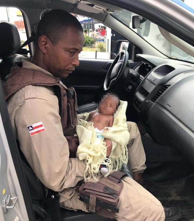 Recém-nascido abandonado é resgatado por policiais militares em Lauro de Freitas