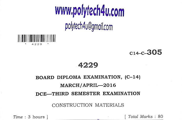 POLYTECHNIC CONSTRUCTION MATERIALS OLD QUESTION PAPER