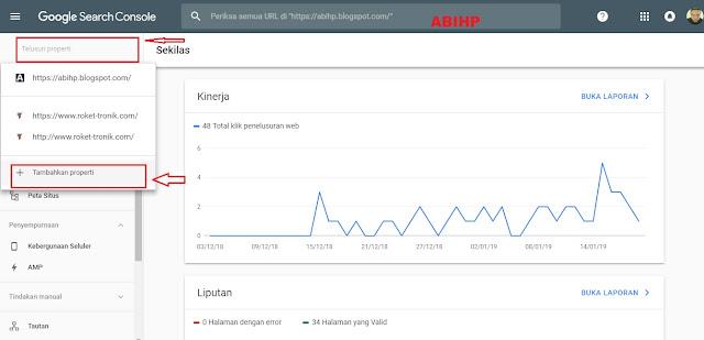 Manambahkan domain baru ke properti google search console.