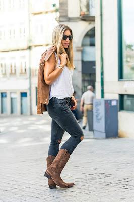 Botas vaqueras con jeans