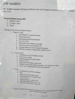 Lowongan Kerja PT. Toshio Indonesia (Ditutup 26 Januari 2018)