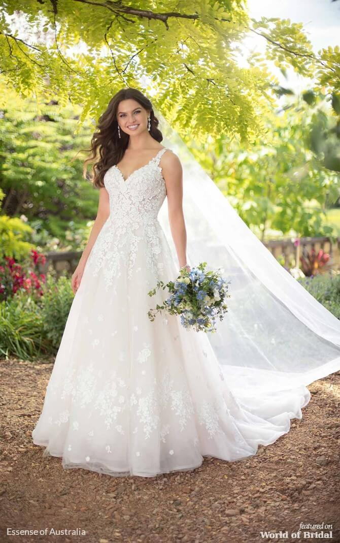 355fd655c3739 Essense of Australia Spring 2019 Romantic A-Line Wedding Dress with 3-D  Floral