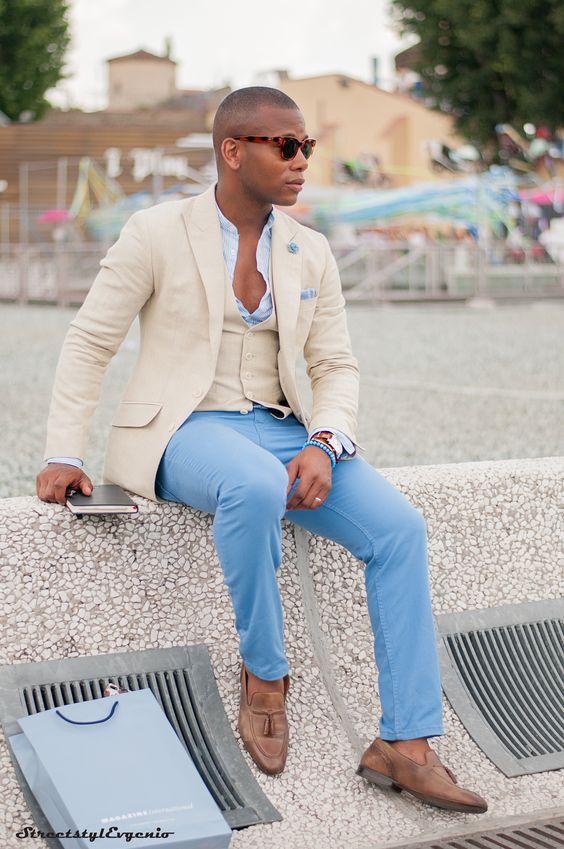 O Azul é uma das Tendências de Cores para o Verão 2018 na Moda Masculina.