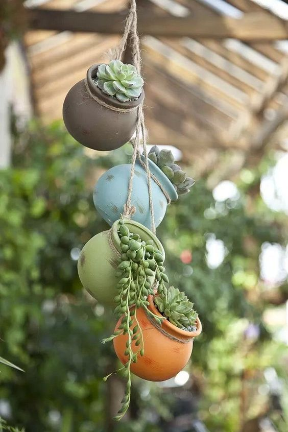 My love of gardening gardening stuff for Colorful hanging planters