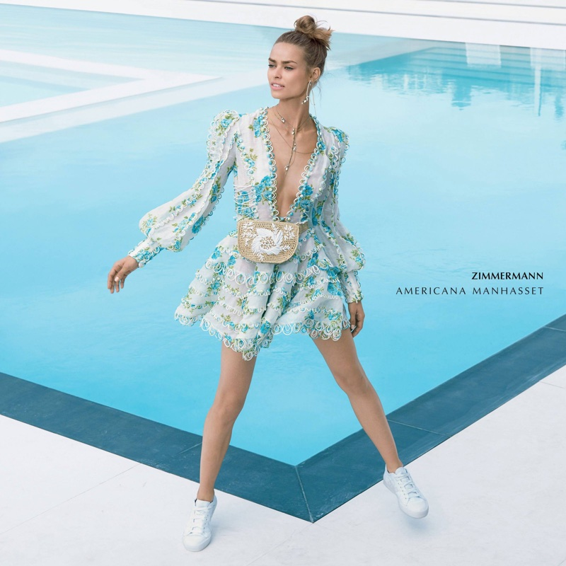 Birgit Kos wears Zimmermann dress in Americana Manhasset's spring-summer 2018 campaign