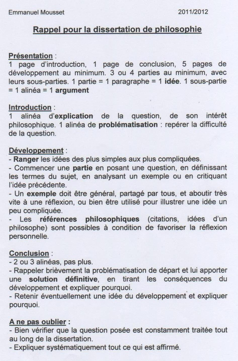 Comment rediger dissertation philo