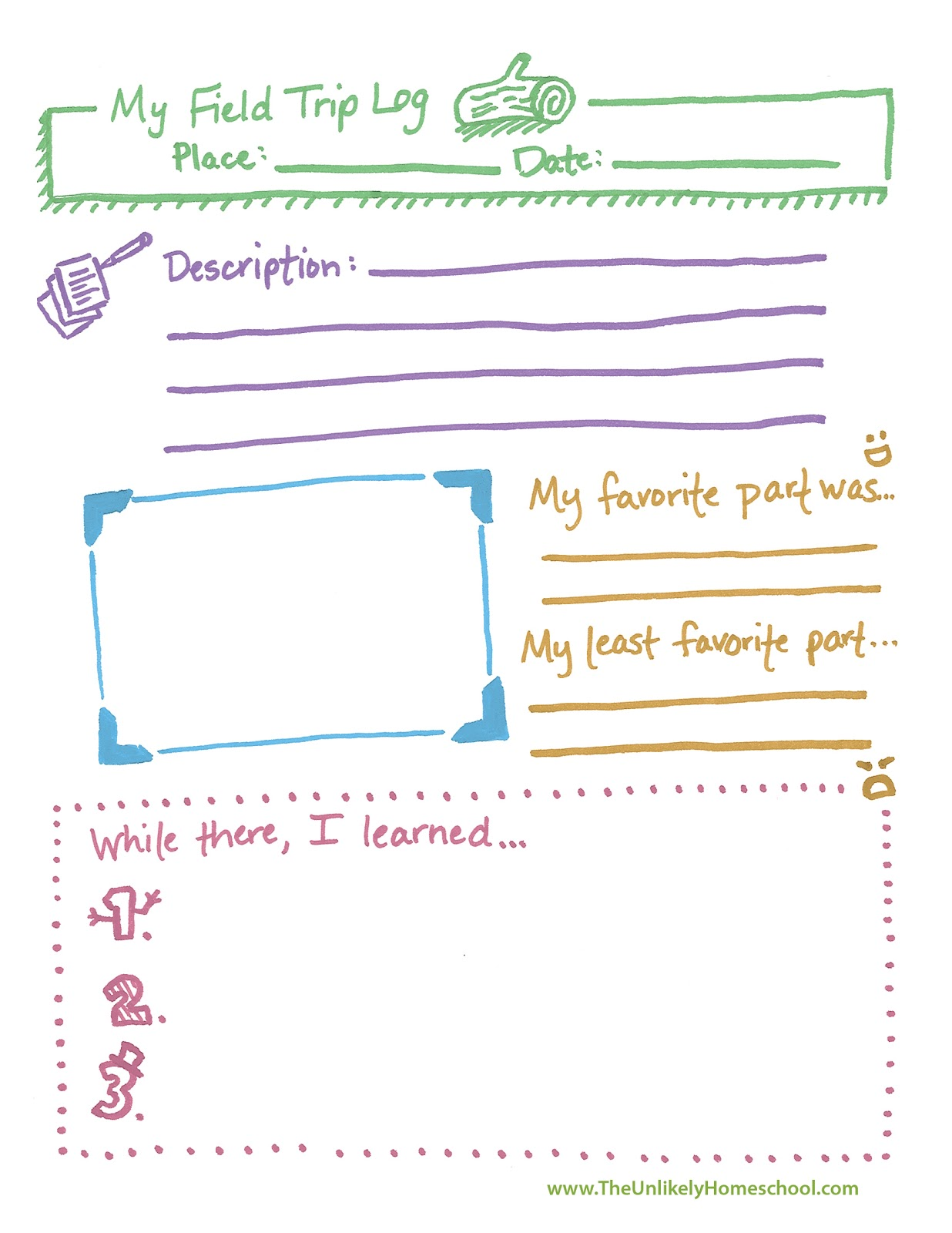 the unlikely homeschool field trip log printable. Black Bedroom Furniture Sets. Home Design Ideas