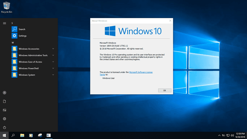 Windows 10 Pro Lite Version 1809 feature shortened version