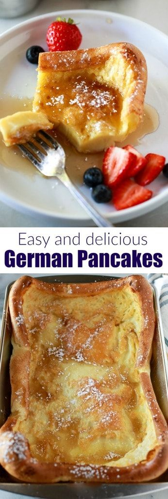 The absolute best German Pancakes recipe! Only six simple ingredients and five minutes to prepare, this easy breakfast is a sure family favorite! #breakfast