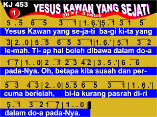 Lirik dan Not Kidung Jemaat 453 Yesus Kawan Yang Sejati