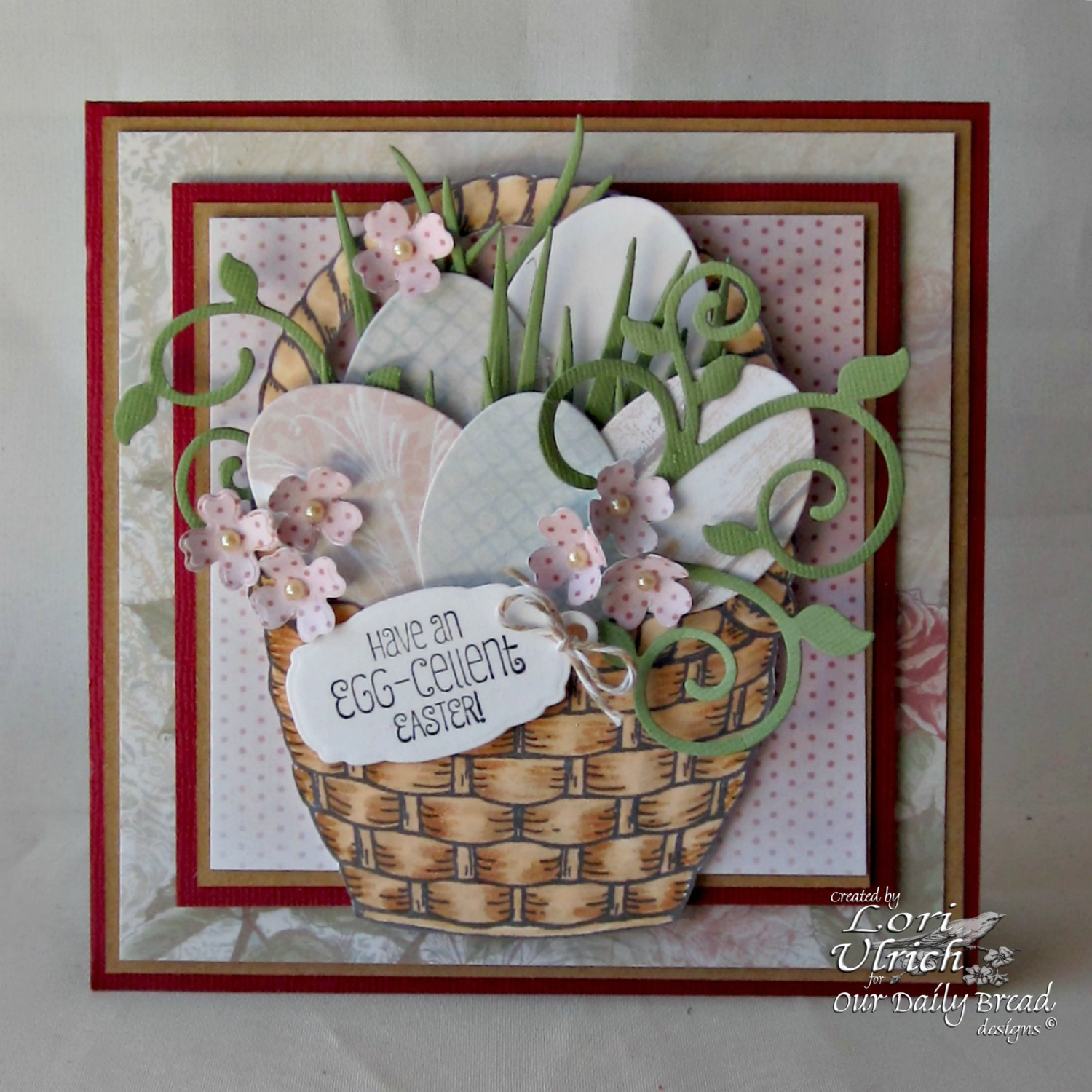Stamps - Our Daily Bread Designs Basket of Blessings, ODBD Custom Mini Tags Dies, ODBD Custom Fancy Foliage Dies, ODBD Custom Ornamental Crosses Die, ODBD Custom Eggs Dies, ODBD Shabby Rose Paper Collection