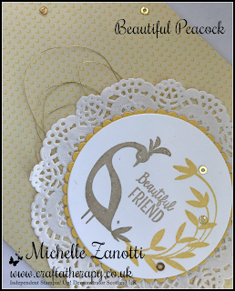 stampin' up! UK beautiful peacock tutti frutti cards delicate white doilies gold metallic thread mini gold sequin trim layering circles framelits