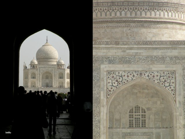 Taj Mahal mausoleum seen from the Great Gate by betitu