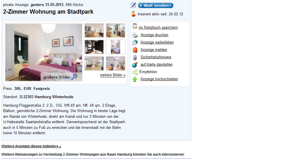 quoka 2 zimmer wohnung am stadtpark 22303 hamburg winterhude. Black Bedroom Furniture Sets. Home Design Ideas
