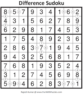 Answer of Difference Sudoku Puzzle (Daily Sudoku League #212)