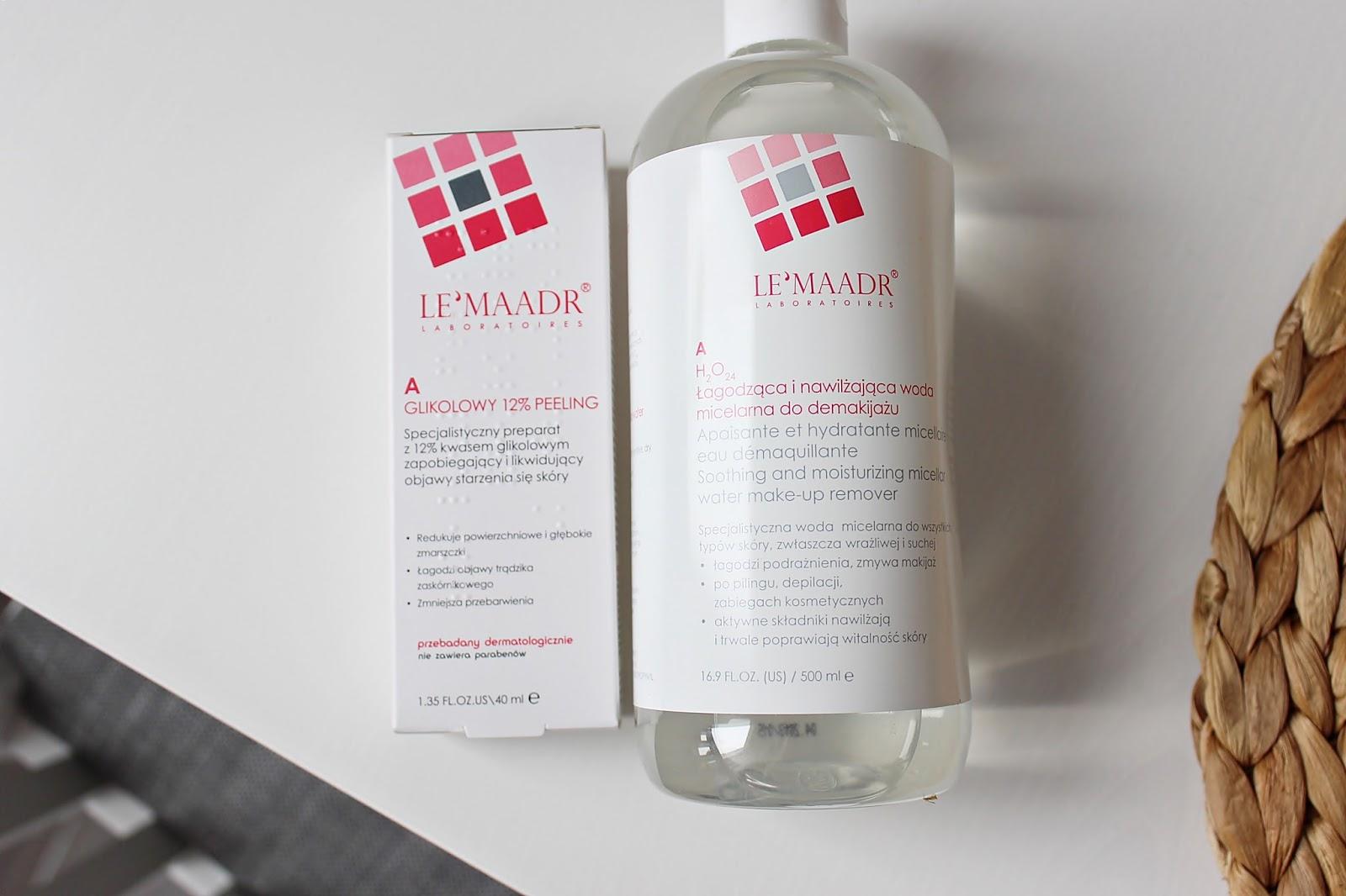 LeMaadr, peeling glikolowy i łagodząca woda micelarna