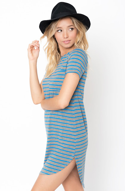 Buy Blue Striped Curved Hem tee dress online @caralase