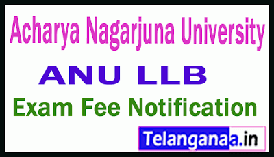 Acharya Nagarjuna University LLB Exam Fee Notification