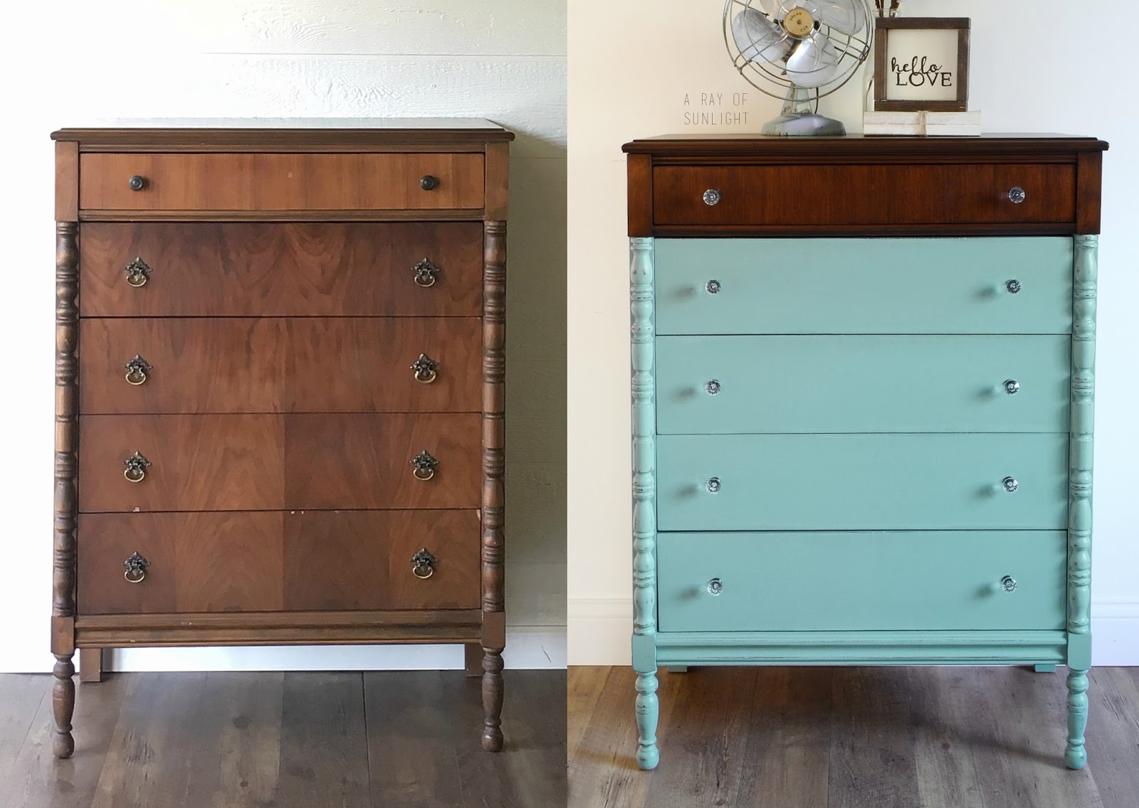 How to get a paint dipped look on any furniture. This dresser was painted in Country Chic Paint Jitterbug and Happy Hour with General Finishes Java Gel Stain. By A Ray of Sunlight