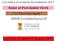 Parliament of India Lok Sabha Recruitment 2017-Junior Clerk